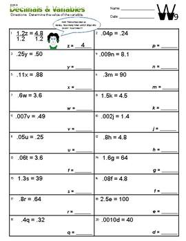 6.EE.5 Decimals & Variables