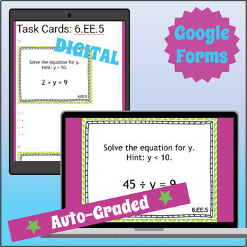 ⭐ SELF-GRADING ⭐ 6.EE.5 Task Cards ⭐ Substitution in Equations and Inequalities