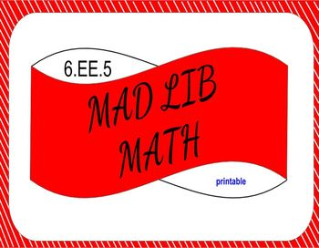 6.EE.5 Printable Mad LIb Math Activity (Solutions to Equations and Inequalities)