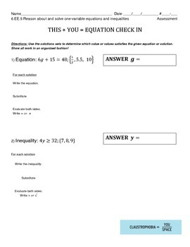6.EE.5 - Reason About & Solve Equations & Inequalities w/ Substitution