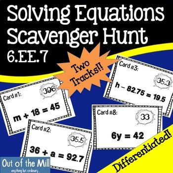 6.EE.7 Solving Equations Scavenger Hunt