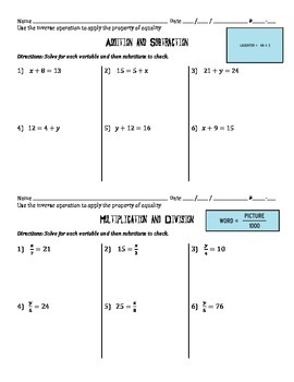 6.EE.7 - Solving Equations using Inverse Operations (all operations)