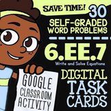 6.EE.7 Task Cards ✦ Writing and Solving One-Step Equations ✦ Google Classroom™