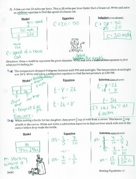 6.EE.7 - Write and solve Addition and Subtraction Equations through Modeling