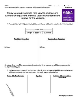 6.EE.7 - Write and solve Addition and Subtraction Equation