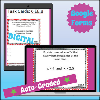 ⭐ SELF-GRADING ⭐ 6.EE.8 Task Cards ⭐ Real-World Inequalities