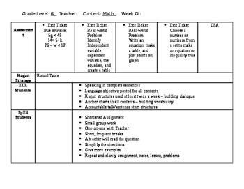 6.EE.C.9 Lesson Plan (1 week)