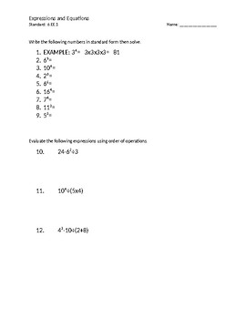6.EE.a1 Homework, practice,exponents, CFA, common formative assessment sheet