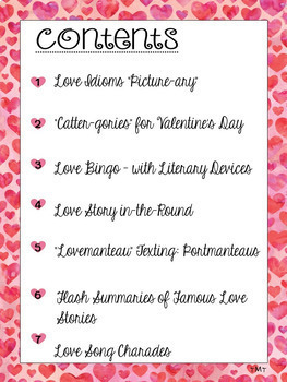 ELA Valentine's Day Games Middle & High School ♥ Idioms Summary Literary Devices