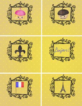 6 Editable Labels - Paris, France themed - classroom organization - 8.5x11