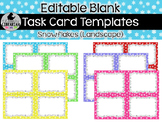 6 Editable Task Card Templates Snowflakes (Landscape) PowerPoint