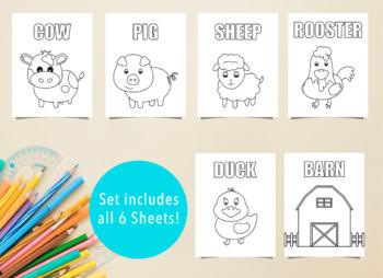 6 Farm Themed Coloring Sheets