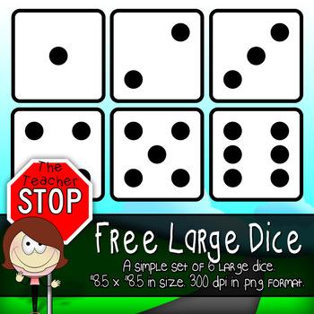6 Free Large Dice {The Teacher Stop}
