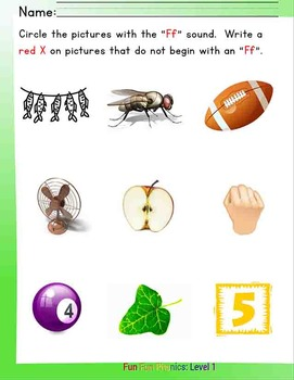 #6 Fun Fun Phonics (16 pages Ff, af, and fa') Complete Answer Key