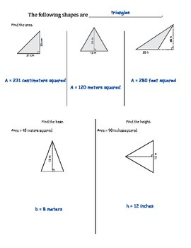 6.G.1 & 6.EE.2 - Area of Rectangles and Triangles