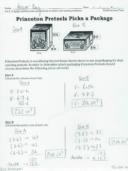 6.G.2, 4 - Surface Area & Volume Performance Task