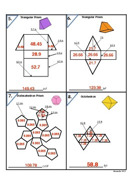 6.G.4 Decimals in Surface Area Nets