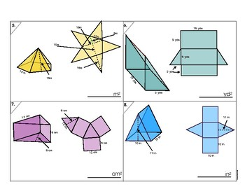 6.G.4 Surface Area Nets #4 - Triangles