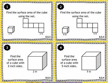 6.G.4 Task Cards: Surface Area Using Nets, 6.G.4 Centers