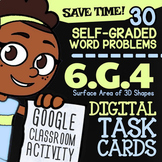 6.G.4 Task Cards ✦ Surface Area of 3D Figures ✦ 6th Grade Google Classroom
