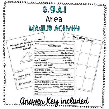 6.G.A.1 Area MadLib Activity