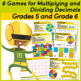 6 Games to practice multiplying and dividing decimals.  Grades 5 and 6