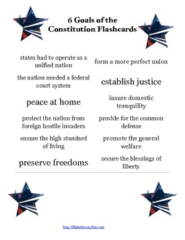 6 Goals of the Constitution Flashcards