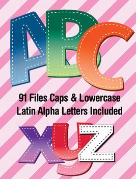 "6 Gradient Brights Alphabets - Digi Stamp - Latin Accents - 4"" Clip Art Letters"