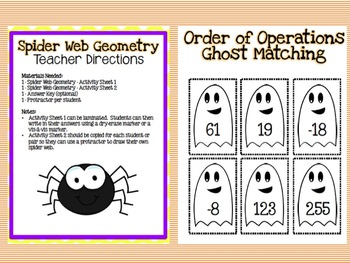 6 Halloween Themed Middle School Math Stations or Centers