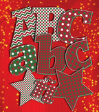 """6 Holiday Red Green Decorative Alphabets – Spanish Glyphs - 5"""" Clip Art Letters"""
