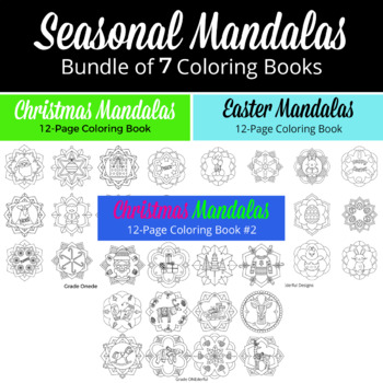 6 Holidays Mandala Coloring Books