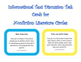 6 Informational Text Nonfiction Discussion Task Cards for Literature Circles