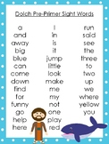 6 Jonah and the Whale themed Dolch Sight Word Lists. Preschool-3rd Grade Reading