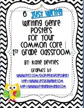 6 Just Write Writing Genre Posters for Your Common Core Classroom Chev/Owl