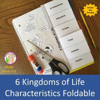 6 Kingdoms of Life Characteristics Foldable