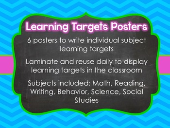 6 Learning Targets Posters, Colorful Chevron