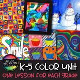6-Lesson Vertical Elementary Art Color Unit Bundle