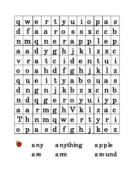 #6 Letter A Sight Word Search Puzzle Kindergarten Alphabet