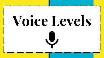6 Level Voice and Noise Level Visual/Chart for Classroom Behavior Blue/Yellow