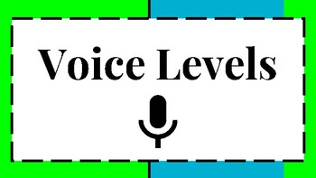 6 Level Voice and Noise Level Visual/Chart for Classroom Behavior Green/Blue