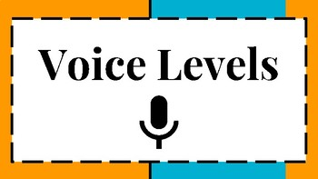 6 Level Voice and Noise Level Visual/Chart for Classroom Behavior Orange & Blue