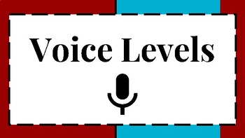 6 Level Voice and Noise Level Visual/Chart for Classroom Behavior Red/Blue