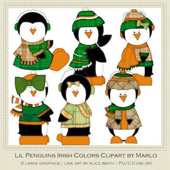 6 Little Irish Penguins Clip Art Graphics Pkg 1