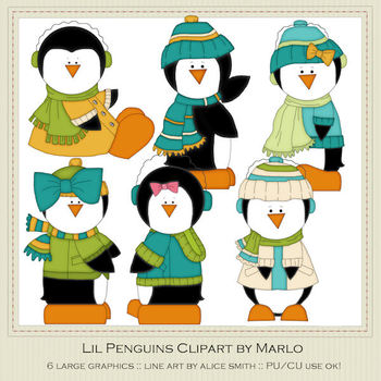 6 Little Penguins Clip Art Graphics Pkg 1