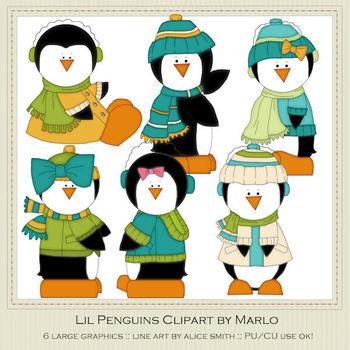 6 Little Penguins Clip Art Graphics Pkg 1