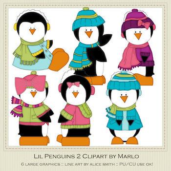 6 Little Penguins Clip Art Graphics Pkg 2