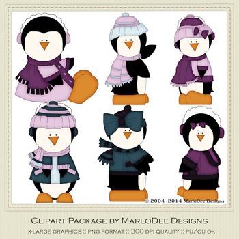 6 Little Penguins Clip Art Graphics Pkg 3