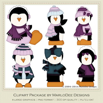 6 Little Penguins Clip Art Graphics Pkg 3