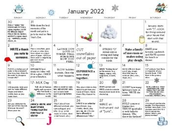 6 MONTHS Early Learning Activity Calendars- Cold Climates- January- June  2019