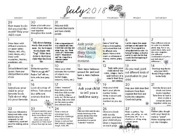 6 MONTHS of Early Learning Calendars- July- December 2018